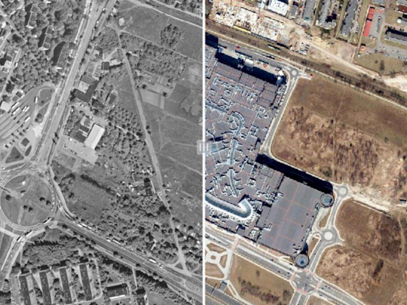 Porównanie 1995-2018: okolice Ronda Rataje, Łacina, teren dzisiejszego CH Posnania. Fot. GEOPOZ