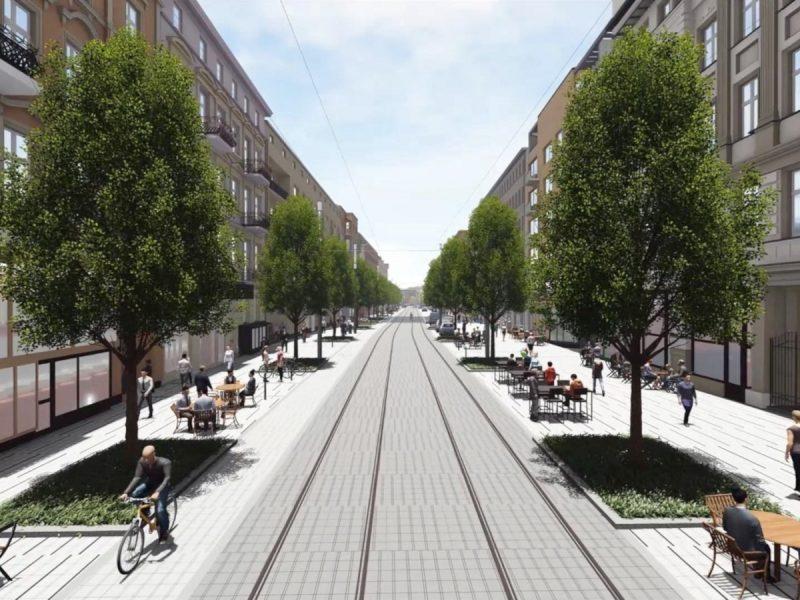Projekt tramwaju w ulicy Ratajczaka. Więcej drzew i zieleni, przestrzeń przyjazna dla pieszych, uspokojony ruch samochodowy. Fot. Urząd Miasta Poznania
