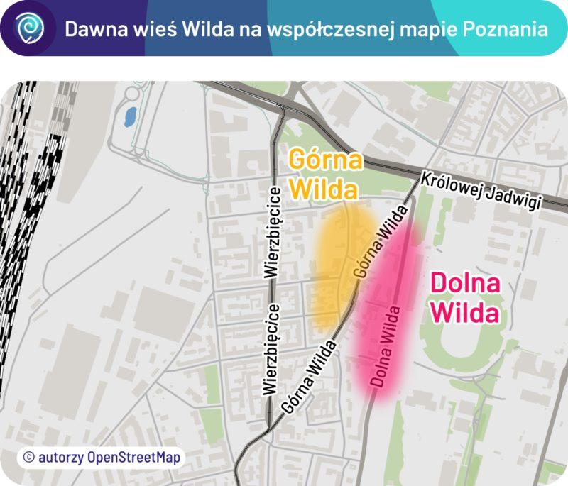 Położenie dawnej osady Wilda na współczesnej mapie Poznania