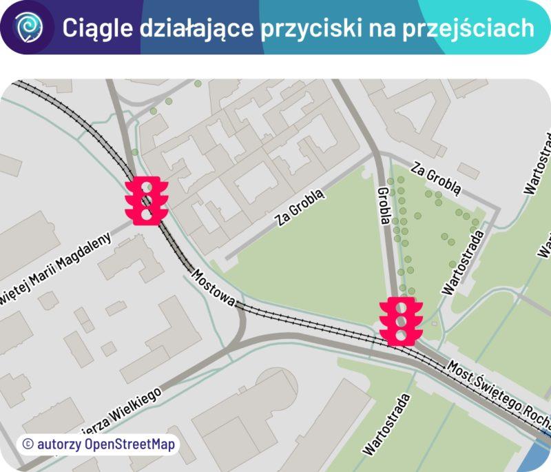 Ciągle działające przyciski na przejściach (trasa tramwajowa przez Most Rocha)
