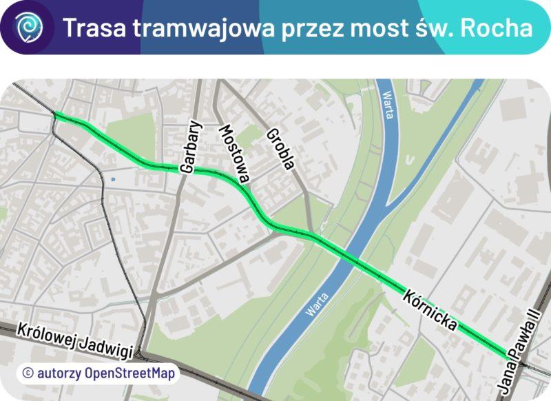 Mapa trasy tramwajowej przez most Rocha
