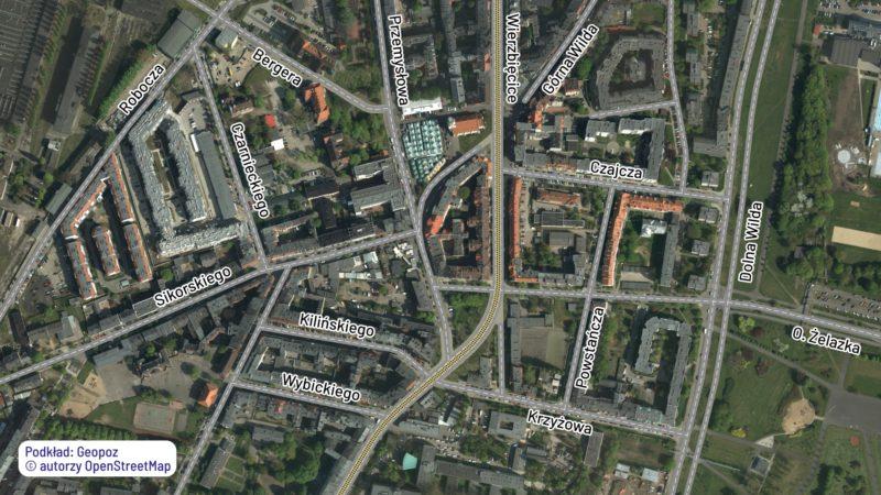 Wilda: rekonstrukcja planu przebudowy dzielnicy z 1966 roku. Źródło podkładu: Geopoz