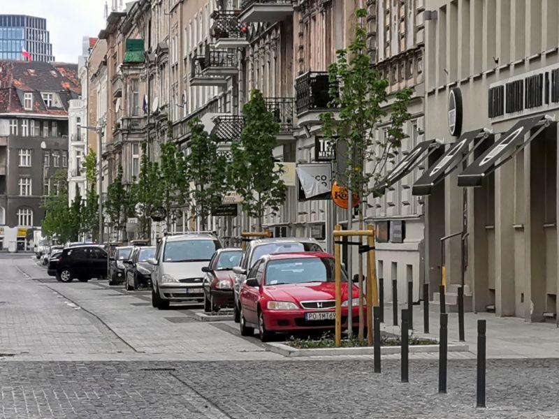 Ujęcie na zadrzewioną stronę ulicy Taczaka