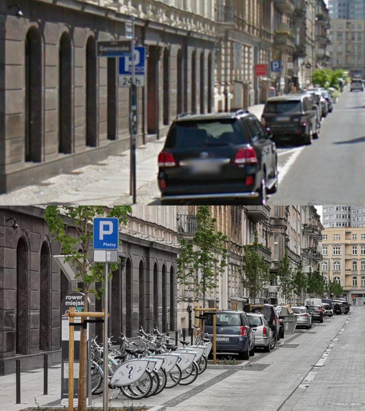 Ulica Taczaka w pobliżu skrzyżowania z ul. Ratajczaka - porównanie