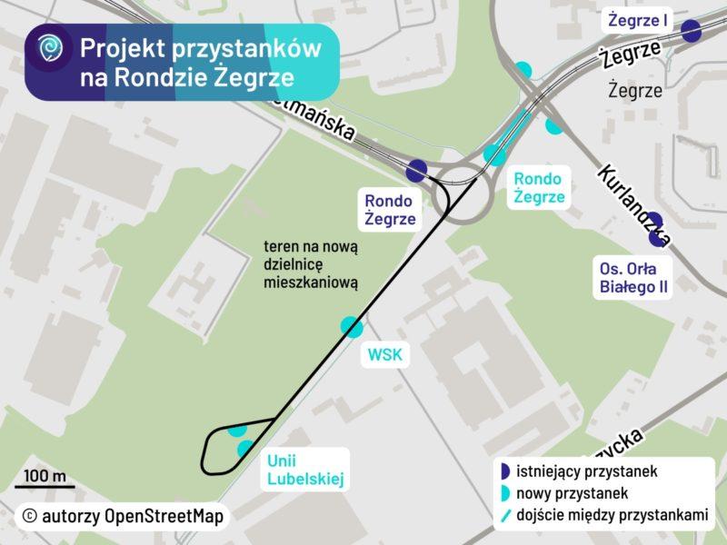 Projekt przystanków w rejonie Ronda Żegrze i Unii Lubelskiej