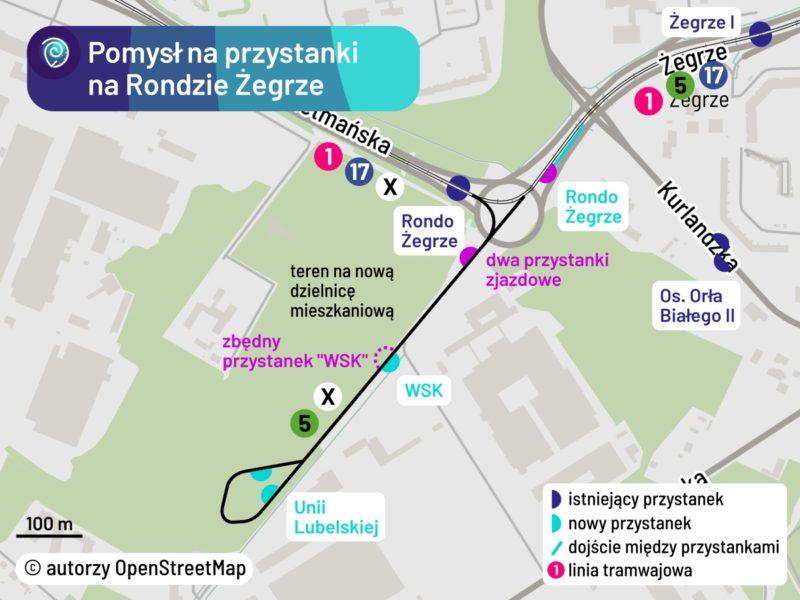 Propozycja przystanków (teraz niemożliwa do realizacji) w rejonie Ronda Żegrze i Unii Lubelskiej