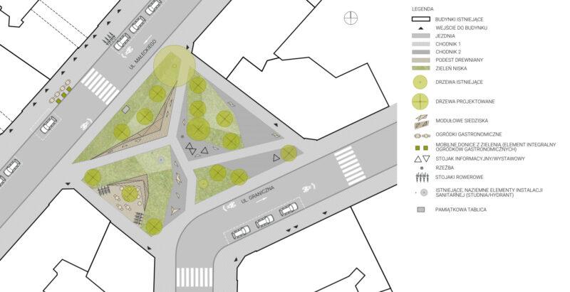 Koncepcja nowego skweru Eki z Małeki. Źródło: Front Architects