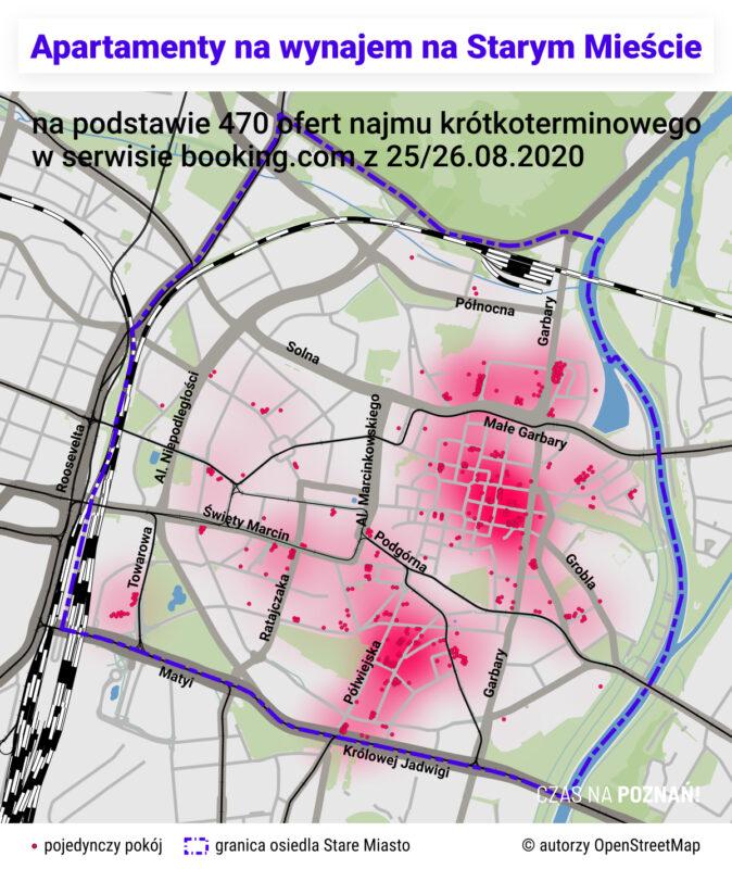 """Mapa apartamentów na wynajem (tzw. """"dobówek"""") na osiedlu Stare Miasto w Poznaniu. Najem krótkoterminowy"""