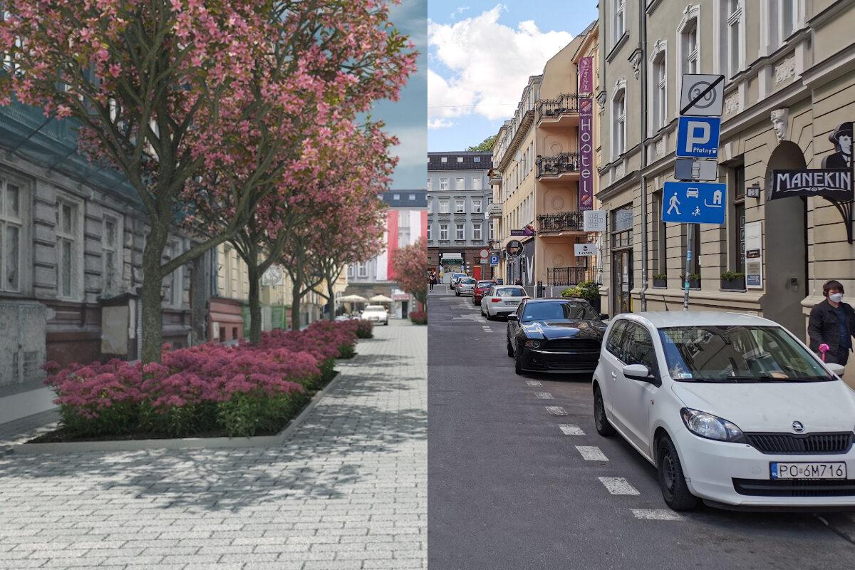 Ulica Kwiatowa dziś (po prawej) i po przebudowie (wizualizacja po lewej). Źródło wizualizacji: Poznańskie Inwestycje Miejskie