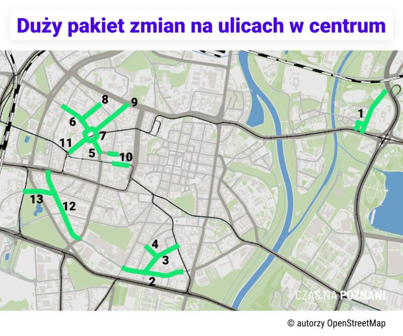 Mapa miejsc, gdzie będzie wprowadzana zmiana organizacji ruchu. Poznań Stare Miasto, Śródka