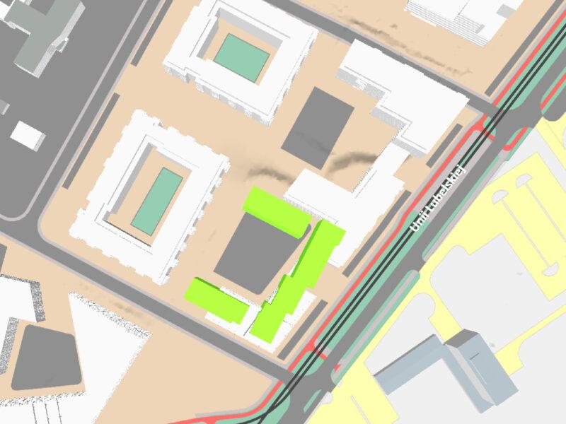 """""""Przy Unii"""" Budimeksu (zielone - budynki planowane) na tle propozycji zagospodarowania według Miejskiej Pracowni Urbanistycznej (białe budynki)"""