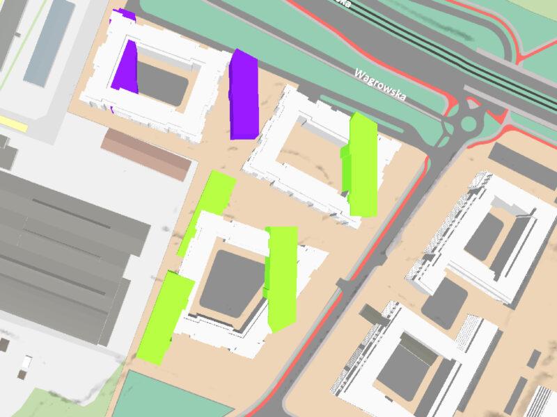 """""""Nowe Miasto"""" Murapolu (fioletowe - budynki budowane, zielone - budynki planowane) na tle propozycji zabudowy według MPU (białe budynki). Źródło: Geopoz"""