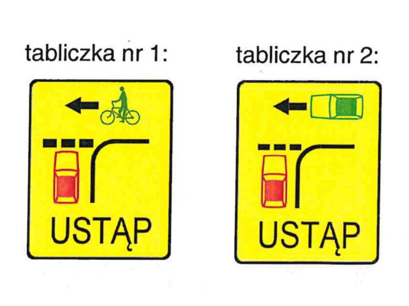 Tabliczki, które pojawią się na skrzyżowaniach równorzędnych w centrum Poznania. Źródło: Zarząd Dróg Miejskich