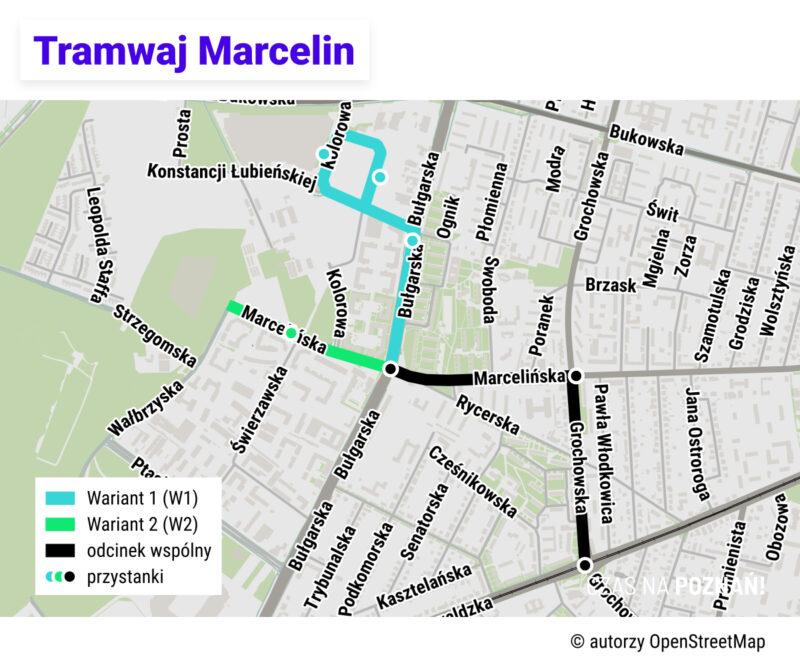 Mapa dwóch wariantów przebiegu tramwaju na Marcelin. Pamiętaj: w konsultacjach możesz zaproponować własny wariant