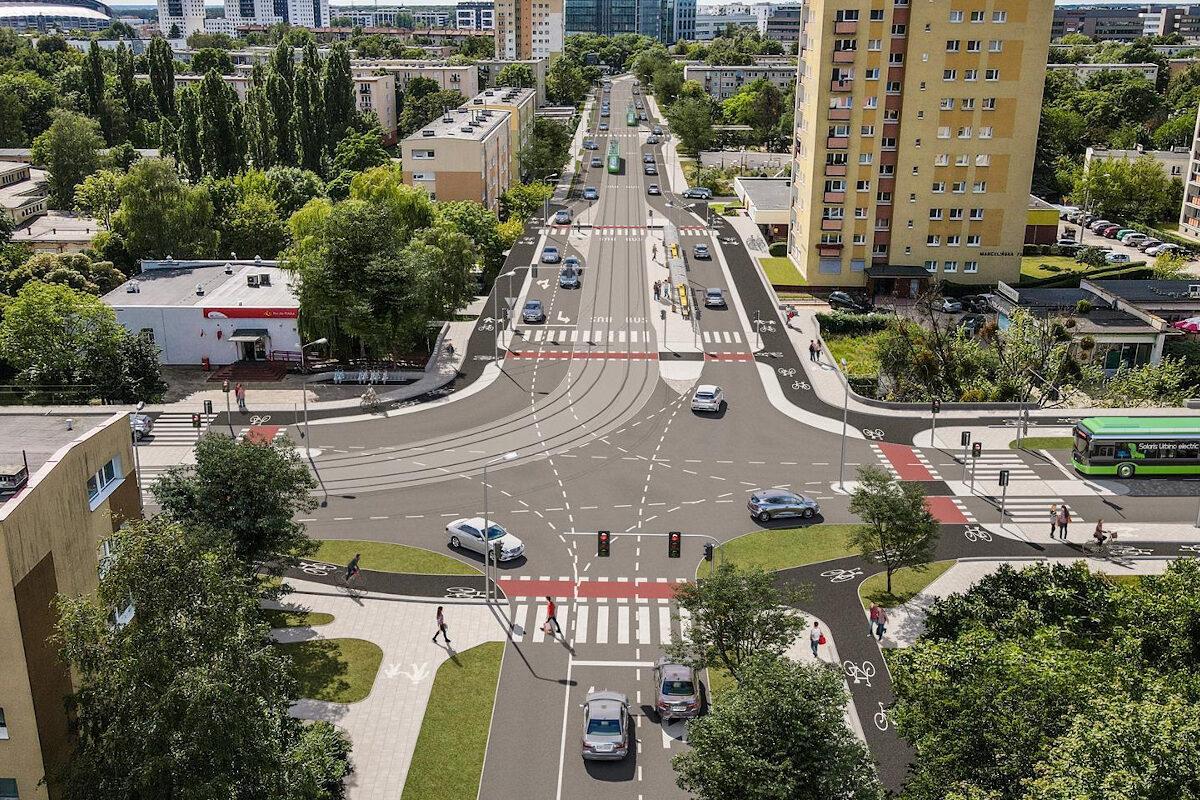 Tramwaj na Marcelin: wizualizacja, ulica Marcelińska. Źródło: Zarząd Transportu Miejskiego