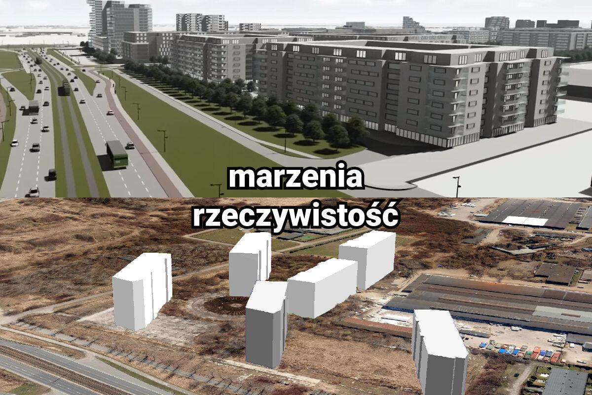 Unii Lubelskiej mieszkania. Marzenia: propozycja zabudowy według MPU. Rzeczywistość: budowana i planowana inwestycja mieszkaniowa. Źródło: MPU / Geopoz