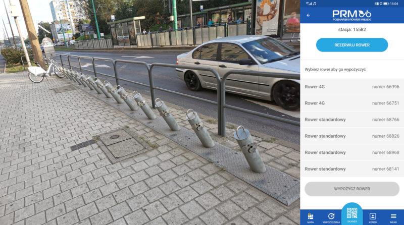 Wtorek, 9 września. Według aplikacji, na stacji Głogowska / Hetmańska znajdziemy 6 rowerów. W rzeczywistości stoi tylko jeden