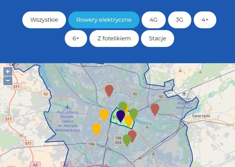 Wieczorem 9 września w całym Poznaniu mogliśmy wypożyczyć 12 (z 30 deklarowanych) rowerów elektrycznych