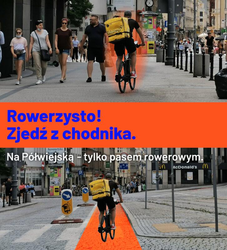 Rowerzysto! Zjedź z chodnika na placu Wiosny Ludów. Pas rowerowy prosto do ul. Półwiejskiej czeka na Ciebie!
