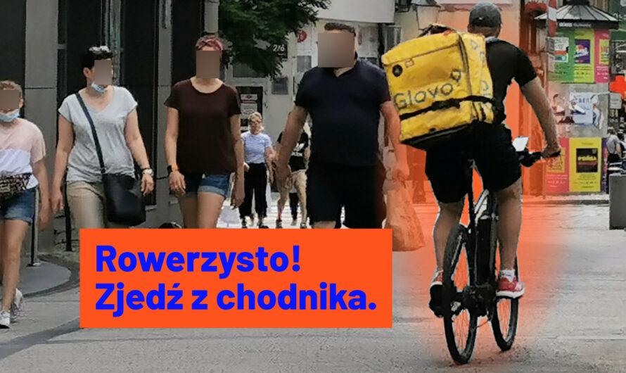 Rowerzysto! Zjedź z chodnika. Nie lękaj się! Jedź jezdnią, nie chodnikiem!