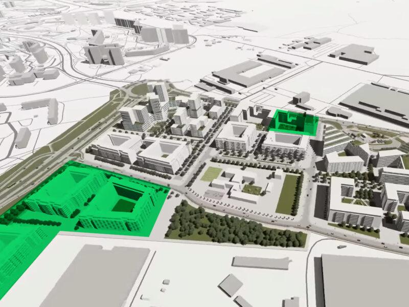Propozycja zagospodarowania terenu wg projektu miejscowego planu zagospodarowania przestrzennego w rejonie ul. Unii Lubelskiej w Poznaniu. Kolorem zielonym zaznaczono dwie inwestycje opisywane w tym tekście. Źródło: MPU