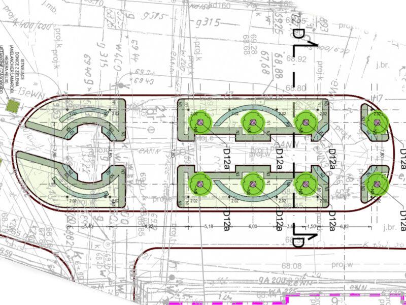 Kompozycja zieleni na al. Marcinkowskiego na wysokości placu Wolności