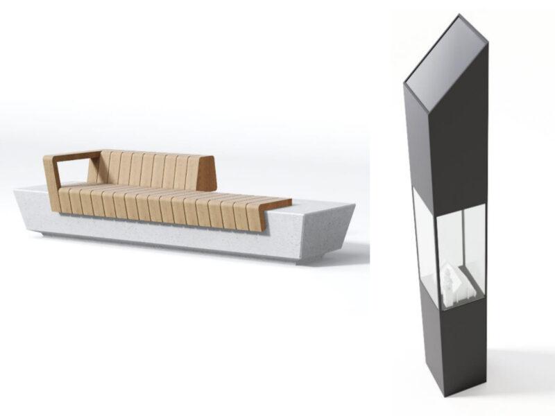 """Model ławki i """"znak świetlny"""" z makietą kościoła przy ulicy Święty Marcin"""