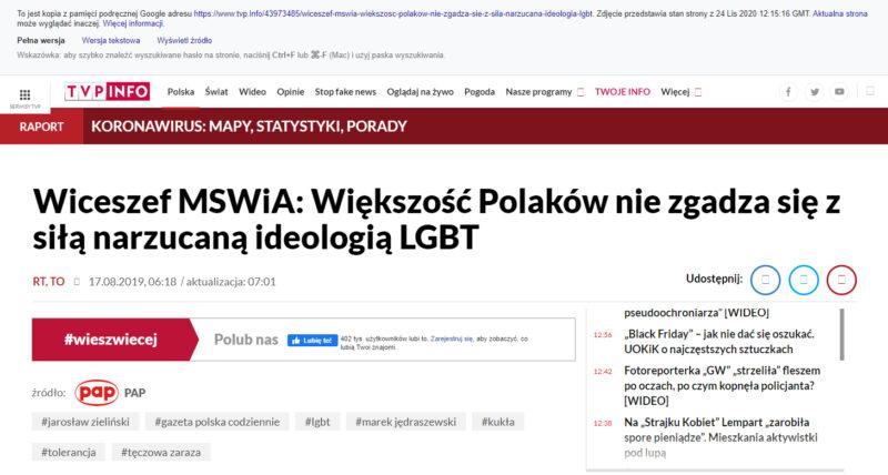 Kompilacja zrzutów ekranu z artykułu TVP Info zachowanego w pamięci Google cache. Tęczowa zaraza, LGBT
