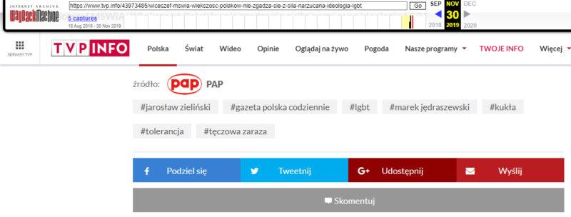 Zrzut ekranu ze strony web.archive.org prezentujący fragment artykułu TVP Info