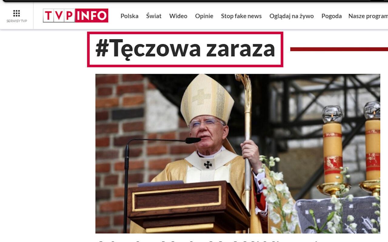 """TVP grupowała teksty """"#tęczowa zaraza"""", choć jej pracownicy twierdzą inaczej i sieją dezinformację. Zrzut strony rubryki """"tęczowa zaraza"""" zarchiwizowany przez Wayback Machine"""