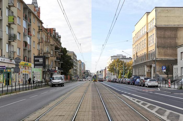Ulica Głogowska po (kosmetycznych) zmianach: porównanie przed – po