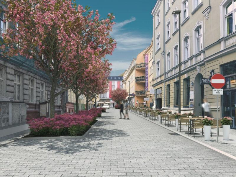 Wizualizacja ulicy Kwiatowej po przebudowie. Tu miało być tak zielono! Źródło: Zarząd Dróg Miejskich