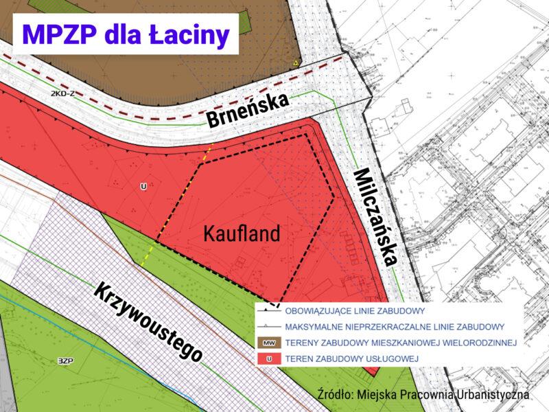 """Rysunek planu miejscowego """"Łacina - Południe - część B"""" w okolicy Brneńskiej / Milczańskiej"""