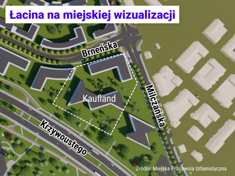 Wizualizacja zabudowy, która może powstać zgodnie z MPZP przy skrzyżowaniu Brneńska / Milczańska na Łacinie
