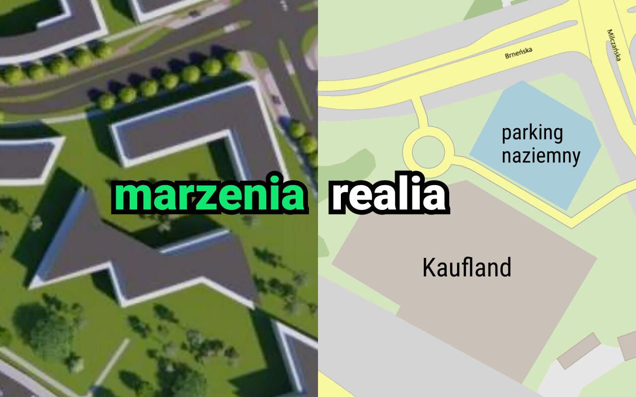Łacina: inwestycje, nowy market Kaufland. Marzenia: propozycja zabudowy według MPU. Rzeczywistość: planowany market. Źródło: MPU / Geopoz
