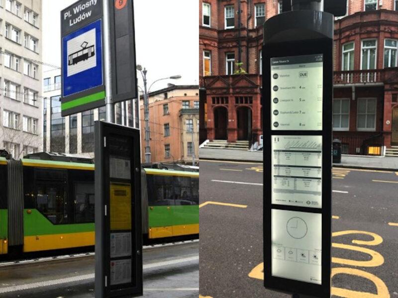 """Gablotę na przystanku """"Plac Wiosny Ludów"""" można zastąpić e-papierem (rozwiązanie z Londynu)"""