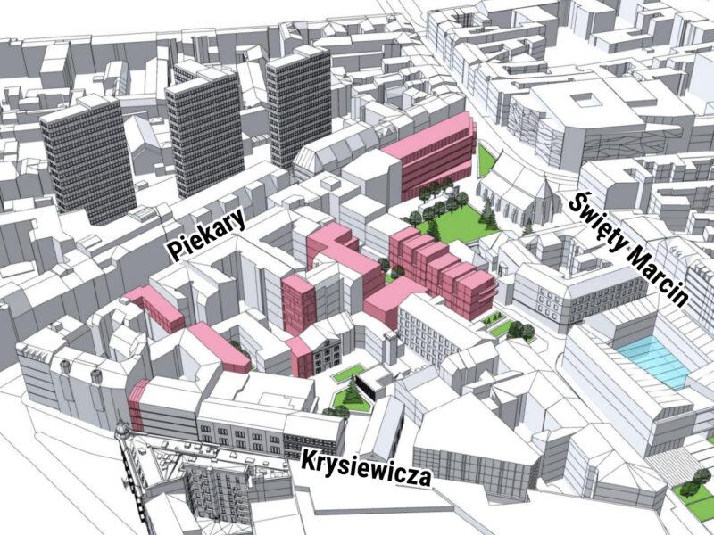 """Koncepcja zabudowy możliwa do zrealizowana zgodnie z projektem planu """"Rejon ulicy Wysokiej"""". Źródło: MPU"""