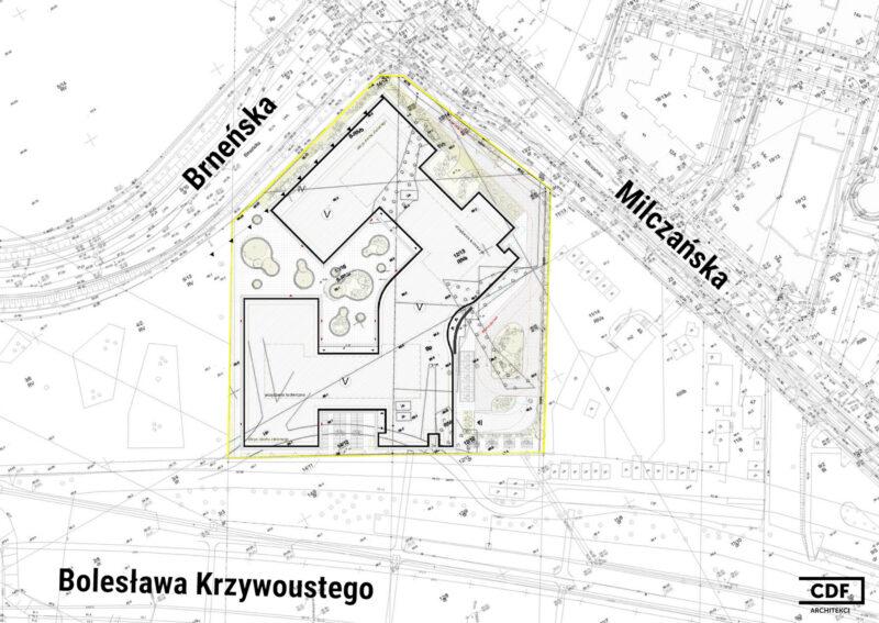 Projekt zagospodarowania terenu dla niezrealizowanego biurowca przy Brneńskiej / Milczańskiej. Źródło: CDF Architekci