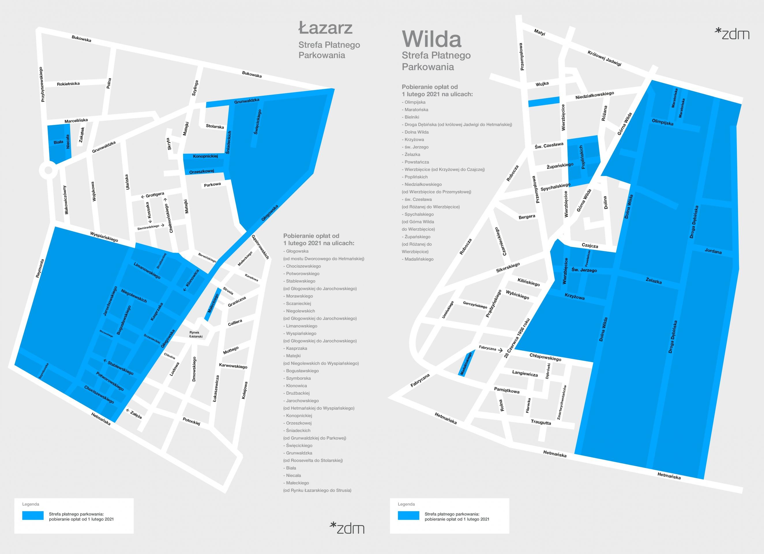 Ulice na Łazarzu i Wildzie, na których od 1 lutego 2021 roku rusza Strefa Płatnego Parkowania. Źródło: Zarząd Dróg Miejskich