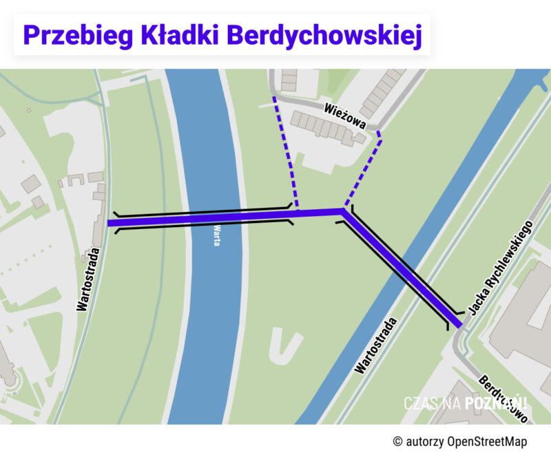 Mapa z przebiegiem Kładki Berdychowskiej