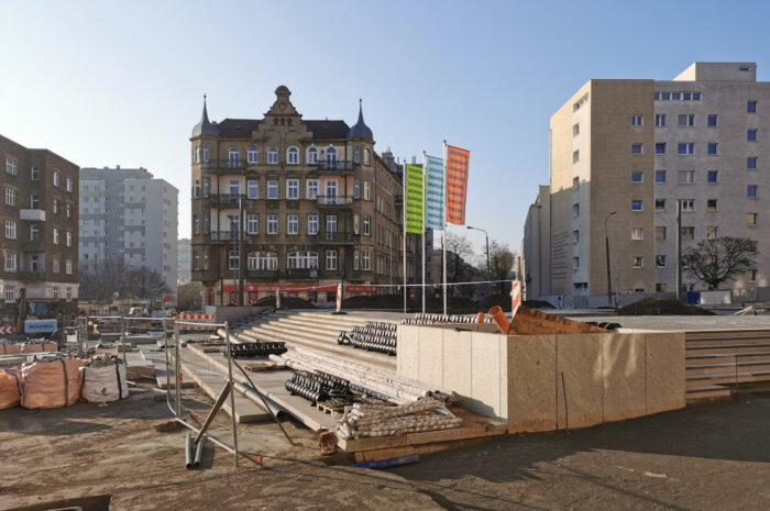 Pierwszy rok przebudowy rynku Łazarskiego – lutowa fotorelacja