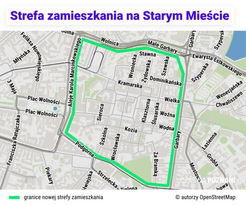 Mapa obszaru rozszerzonej strefy zamieszkania na Starym Mieście