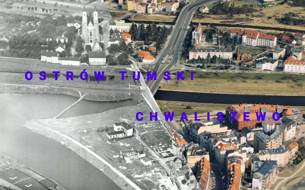 Chwaliszewo i Warta, w tle Ostrów Tumski. Zdjęcie z ~1960 roku i 2015. Źródło: CYRYL, Google Earth