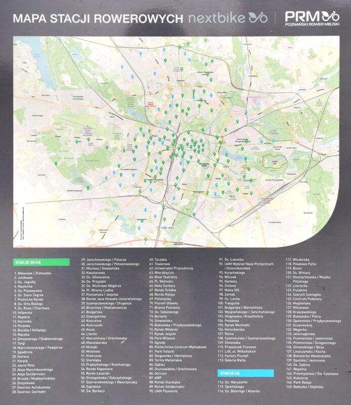 Mapa stacji i stref wypożyczeń i zwrotów Poznańskiego Roweru Miejskiego