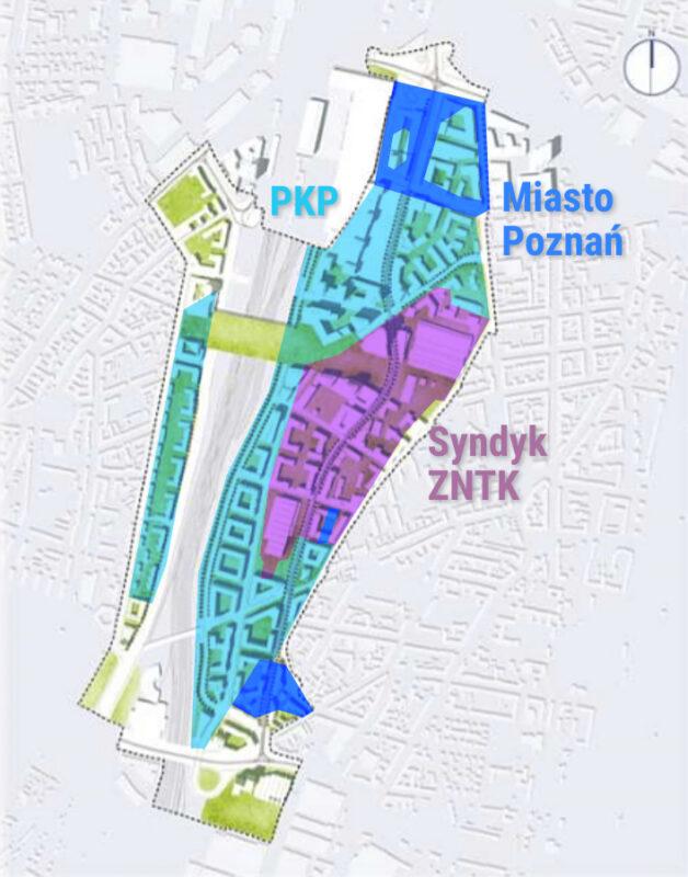 Wolne Tory według Miejskiej Pracowni Urbanistycznej (koncepcja na bazie projektu planu miejscowego) z zaznaczonymi właścicielami działek