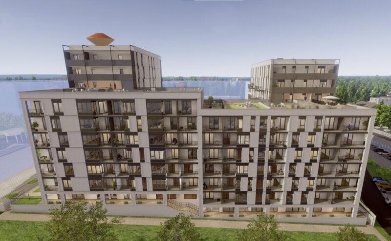 """Pierwszy etap inwestycji """"Wieża Jeżyce"""" od strony pasażu łączącego ulicę Polna i Nad Seganką. Fot. Echo Investments"""